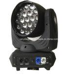 Professional 19x12W 4en1 Lavar Zoom haz de luz LED moviendo la cabeza