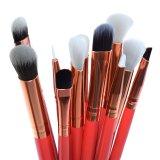 12 частей щетки для макияжа, деревянной ручкой синтетических поверхности фундамента порошок Concealer Eyeshadow Eyeliner косметические средства составляют комплект щетки