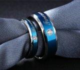 Het blauwe Paar van de Liefde belt de Koreaanse Zijn Juwelen van de Overeenkomst van het Huwelijk, en van haar het Roestvrij staal van de Ring van de Belofte