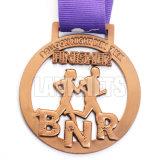 China Personalizada de Fábrica mobiliário antigo Prêmio cobre Sport executando Corrida Medalha do dispositivo de acabamento com Largura da fita Chicotes