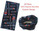 중국 공장 생성에 의하여 주문을 받아서 만들어지는 디자인 Fullover 인쇄 검정 폴리에스테 다기능 목 관 스카프