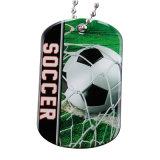 Kundenspezifische Metalldruck-Fußball-Firmenzeichen-Hundeplakette für Förderung (DT-033)