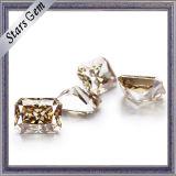 중앙 Champagne 9*7mm 광점에 의하여 잘리는 합성 Moissanite 다이아몬드