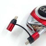 iPhone를 위한 철회 가능한 케이블을%s 가진 소형 USB 차 충전기