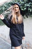 Женщин Hoodies моды с помощью винтов с длинный свитер в удлиненной худи с коротким рукавом