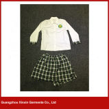 Farda da escola branca da camisa de algodão do projeto por atacado da forma (U42)