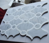 Thassosの白い大理石の組合せのカラーラの白いWaterjetモザイク・タイル
