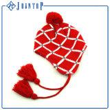 Оптовая торговля модной теплой акриловый Earflap Red Hat с вышивкой этикетки