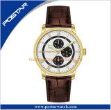 極度の夜光手の耐久のステンレス鋼の水晶腕時計