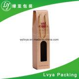 Rectángulo de empaquetado acanalado exquisito del vino del rectángulo del vino rojo del OEM
