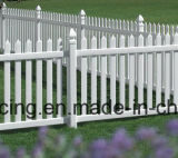 Cerca branca do jardim do PVC da prova UV