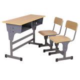 Estudante duplo mesa e cadeira Madeira Mobiliário escolar ignifugação de mesa na sala de aula