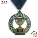 Médaille courante de sports en métal de récompense de la coutume 3D de concurrence avec la bande (M010)