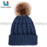 Moda cálida sombreros tejidos con lana bola para Unisex