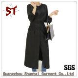 Polyest einfacher beiläufiger runder Stutzen-langes Hemd-Kleid