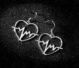 Любовь сердце серьги электрокардиограммы Tassel шпильки крепления серьги для женщин металлические геометрической против аллергии золотые серьги 2018 стального цвета