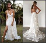 Милая устраивающих Gowns кружева спагетти пляж сад свадебные платья фунтов1901