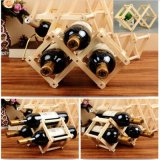 Het vouwbare Houten Rek van de Wijn van de Keuken van de Plank van het Rek van de Rode Wijn Regelbare