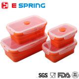 4 récipients d'entreposage se pliants portatifs compressibles de nourriture de cadre de déjeuner d'Eco de silicones