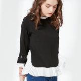 새로운 여자 디자인, 주름을 잡은 시퐁 레이스 뜨개질을 하는 상단, 형식 블라우스