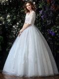 Половина втулки тюль кружева шарик платье V-образный вырез свадебные платья (мечты-100093)