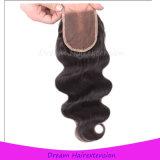 Hochwertige Karosserien-Wellen-brasilianisches Jungfrau-Haar mit Spitze-Schliessen