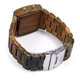 Os homens de madeira artesanais personalizados Relógios de quartzo com duplo movimento relógio de pulso