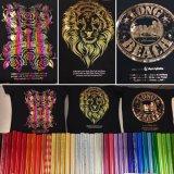 Oro colorido estampado en caliente de transferencia de calor de la lámina de aluminio Aluminio Holografica camiseta en la caja de tarjetas de negocios