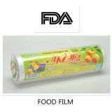 Respetuoso del medio ambiente Grano de plástico PE estiramiento de plástico se adhieren a la película en rollo con caja de papel