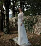 端正な花のレースのモチーフのBateauのAラインのサテンのウェディングドレス(夢100066)