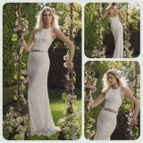 Two-Piece Halter Top Slender Straps Open Back Wedding Dress (Dream-100062)