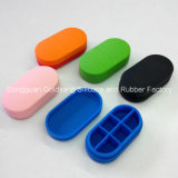 Caja de la medicina del silicón de los redondos seis / siete de la caja de la píldora del silicón del recorrido