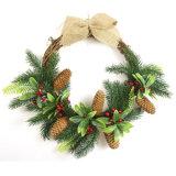 Venda por grosso de 50cm verde de decoração de flores artificiais coroa para Férias