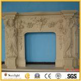 Marbre blanc / pierres calcinées / travertin Manteau de cheminée / cheminée avec une bonne sculpture