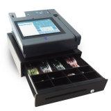 Máquina del pago de la tarjeta con la impresora androide del OS y de la posición para el restaurante del supermercado