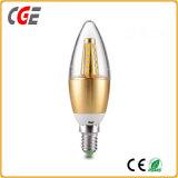 Bombillas LED en el futuro de la luz de velas LED bombilla vela con carcasa de aluminio de oro