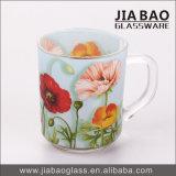 Caneca de vidro do decalque colorido da flor com punho