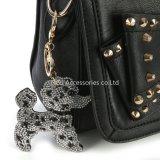 方法ラインストーンかわいい犬の形のキーホルダーの魅力の吊り下げ式の水晶財布袋の女性のキーホルダーのギフト