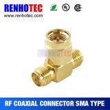 T tapent à l'adaptateur SMA la fiche mâle au connecteur femelle de 2 SMA