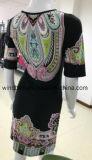Платье женщин черное с печатью Богемии цифров