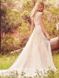 O tampão nupcial dos vestidos de esfera do laço Sleeves A - linha vestido de casamento W176285