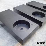 Черный твердый поверхностный каменный тазик мытья ванной комнаты смолаы (B170922)