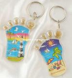 Haut de la vente en forme de pied de l'acrylique Trousseau, cadeaux de promotion de la forme spéciale trousseau de clés,