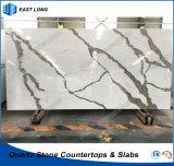Pedra projetada laje de quartzo para o material de construção de superfície contínuo com padrões do GV (Calacatta)