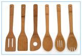 Nieuwe Reeks van 6 Keukengereedschap van het Bamboe in de Zak van het Netwerk