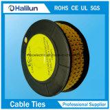 2018 Venta caliente Círculo amarillo marcador de cables para los cables que van de PVC eléctrico