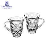 [150مل] فنجان أنيق زجاجيّة مع مقبض لأنّ قهوة أو شاي ([غب095505سي])