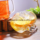 OEM 16ozの正方形の広口のガラス茶マグ