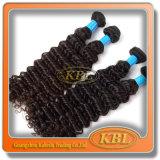 Weave Curly não processado do cabelo brasileiro