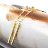 금 색깔 간단한 기하학 두 배는 귀걸이 사슬 귀걸이로 여자를 위한 하락 편들었다